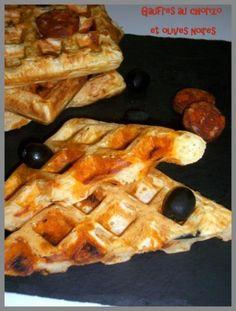 Gaufres au chorizo et olives noires