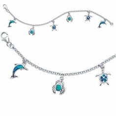 """Sterling Silver 7.5"""" Blue Opal Sealife Charm Bracelet Beaux Bijoux. $49.50. Can be delivered next Business Day!. A pretty charm bracelet featuring different sealife creatures. Crafted of 925 Sterling Silver with stunning Blue Inlaid Opal. Gift box included. Save 38% Off!"""