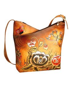 be6df7de0c4 Biacci Brown Floral V-Zip Hand-Painted Leather Crossbody Bag