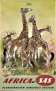 Original Vintage Danish 1958 Africa By SAS Airlines Offset Lithograph Advertising Poster by Otto Nielsen Linen Backed Vintage Advertisements, Vintage Ads, Vintage Airline, Vintage Safari, Vintage Signs, Vintage Style, Sas Airlines, Elephas Maximus, Air And Space Museum