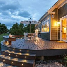 What a beautiful way to add some lighting to your deck stairs! Check out our selection of Dekor Lighting products to give your deck this look.  http://www.thomaslumberco.com/online-store/lighting-balusters/led-deck-lighting-kits.html