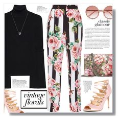 """""""Smell the Roses."""" by yoo-q ❤ liked on Polyvore featuring Gucci, Dolce&Gabbana, Steffen Schraut, Badgley Mischka, Links of London, vintage, contestentry and vintageflorals"""