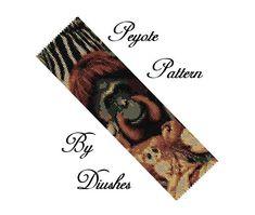 Monkey Beading Pattern, Seed Bead Bracelet Pattern, Animal Flat Peyote Bracelet, Wide Cuff, Bead Graph, Even Count Peyote stitch