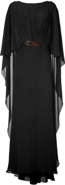 ELIE SAAB Black Belted Silk Georgette Caplet Gown - Lyst