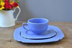 3 Piece Vintage Riviera Mauve Blue Tea Cup / Plate Set / Homer Laughlin Square