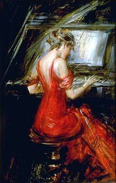 The Woman in Red - Giovanni Boldini. Born in Ferrara, Italy in 1845.  Like Sargent, he had an international career, working mainly in Paris, but also in England where he was  well known in London.  By the turn of the century Boldini had become the most sought after portrait painter in Paris, achieving such a success that his reputation equaled that of  Sargent's in London. He was renowned as a colorist and technician, and his works are considered very much Parisian.