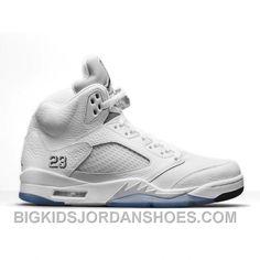 pick up 75394 2d220 Authentic 136027-130 Air Jordan 5 White Metallic Silver-Black (Men Women)  2016 Retro