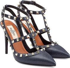 Valentino Shoes - Iconic and covetable, the cult-worthy Rockstud pump is a favorite among the discerning style set. Pebbled navy leather makes this pair a standout investment. - #valentinoshoes #blueshoes