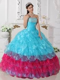 Strapless Aqua Blue and Deep Pink Layers Dress For Quinceanera