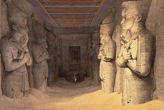185 long hall was full of sand when they found it in 1813 and started excavation in 1817. The Red Sun God? Why did Egyptians have a red sun God?