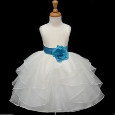 IVORY Organza flower girl dress more than 20 sash by KidsDreamsUSA, $36.99