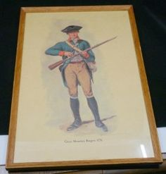This sale is for a vintage framed print of a Revolutionary War Green Mountain Ranger in 1776. This issue of the print was made in 1956 by Alfred Batson. The original artist was Desvarreux Larpenteur. Old Frames, Vintage Frames, Vintage Art Prints, Green Mountain, Revolutionaries, Ranger, Framed Prints, War, Baseball Cards