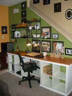 Ikea expedit desk. Love the green wall, wood work surface  the black accents!