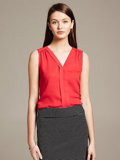 Sleeveless Blouse | Banana Republic in red  (sale) April 2014