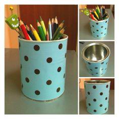 #pencil holder #tin can #wrapping paper #polka dot #DIY