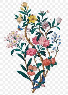 Bird Branch, Butterfly Painting, Pattern Background, Botanical Flowers, Vintage Birds, Egyptian Art, Free Illustrations, Botanical Illustration, Colorful Flowers