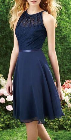 2015 Sexy Halter Short Navy Blue Lace Bridesmaid Dress Cutout Back Chiffon Knee…