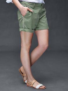 Side stripe girlfriend chino shorts | Gap