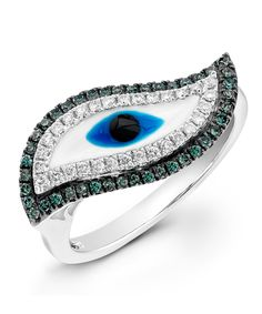 Evil Eye Blue Diamond Ring