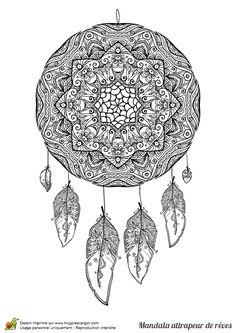 Coloriage d'un mandala attrape rêve complexe - Hugolescargot.com