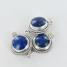 AZURITE STERLING SILVER ROUND CLASP 14.5mm from New World Gems