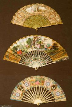 Augusta Auctions, April 17, 2013 - NYC: Three Paper Leaf Fans, 1840-1890