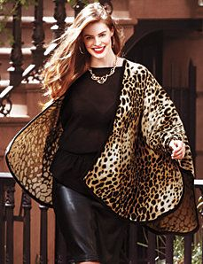 "Animal print cape at Lane Bryant  You can really work this look with tight skinnies or leather pants and ""Ruby Woo"" lips by MAC ;)"