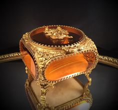 A personal favorite from my Etsy shop https://www.etsy.com/listing/232379765/antique-amber-tinted-beveled-glass