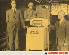A look back to the last washing machine we produced in Speed Queen halted production of laundry equipment to manufacture shells as well as parts for airplanes, tanks and guns to help support Antique Washing Machine, Laundry Equipment, Washing Machines, Washers, Clean Up, Looking Back, Vintage Ads, Hanging Out, Airplanes