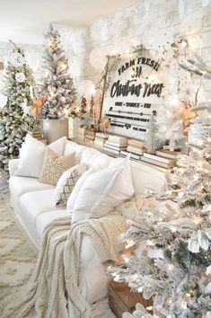 christmas room Love this beautiful Christmas Tree sign in this lovely neutral living room all decorated for Christmas by Natalie vintageporch. Christmas Door Decorations, Christmas Mantels, Noel Christmas, Christmas Ideas, Xmas, Christmas Porch, Christmas Store, Outdoor Christmas, Homemade Christmas