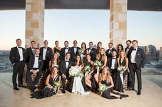 Large wedding party / Black and white color theme // Westin Hotel Nashville, Photo by Krista Lee, Krista Lee Photography from Monica + Brandon's wedding.