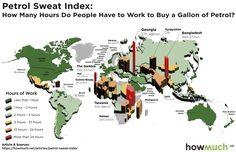 За сколько часов жители разных стран, с минимальной зарплатой (МРОТ), зарабатывают на 1 галлон (4,55 литра) бензина? Россияне — за 3,85 часа. |