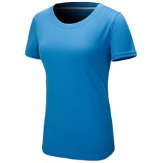 Womens Chic Round Neck Short Sleeve Plain T Shirt Blue ($9.51) ❤ liked on Polyvore featuring tops, t-shirts, blue, blue t shirt, short sleeve t shirts, blue top, round neck t shirt and blue tee