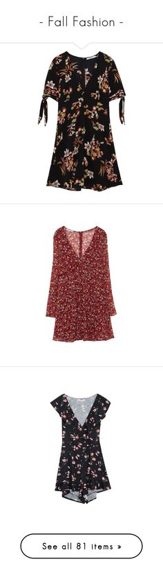 """""""- Fall Fashion -"""" by bugatti-veyron ❤ liked on Polyvore featuring dresses, flower design dresses, flower print dresses, floral print dress, floral button dress, flower printed dress, frill dress, red frilly dress, red flounce dress and flounce dress"""