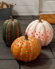 Bring exciting brightness and color to traditional fall and Halloween decorating. Halloween Pumpkins, Halloween Decorations, Pumpkin Decorating, Decorating Ideas, Balsam Hill, Green Pumpkin, White Pumpkins, Halloween Season, Gourds