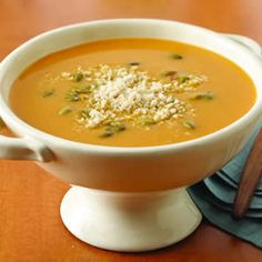 This Roasted Butternut Squash Soup has a wonderful blend of onion, carrots, celery, and pumpkin seeds for a creamy soup for the winter.