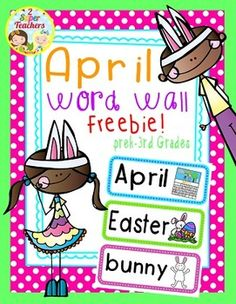 Our April Word Wall Freebie set has 33 picture-word cards! These cards can be used for so much more than a word wall.you can use them for lite. Word Work Activities, Spelling Activities, Holiday Activities, Spelling Centers, Writing Centers, April Easter, Spring Words, Teacher Created Resources, Classroom Ideas