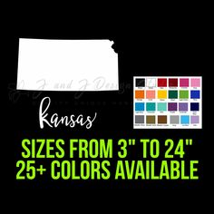 State of Kansas State Of Kansas, Wyoming State, State Of Colorado, State Of Arizona, State Of Oregon, Illinois State, Iowa State, Custom Car Vinyl Decals, South Dakota State