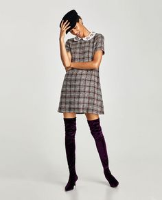 Image 1 of TWEED DRESS WITH COLLAR GEM from Zara