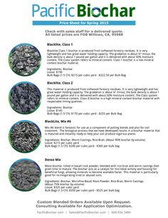 Biochar Price Sheet there are about 200 gallons per yard so the price is less than a dollar per gallon