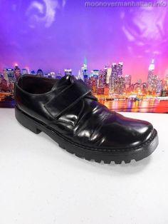 Mens shoes KENNETH COLE black leather ITALY platform velcro monk strap sz 12 M
