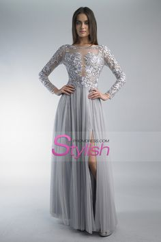 2015 Full Sleeves Prom Dresses Bateau With Slit And Embroidery Tulle Floor Length (bridesmaids dresses in gold or black)