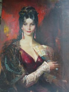 Lady with Fan by Rico, Tomaso, DAC Collection - Donald Art Company Collection