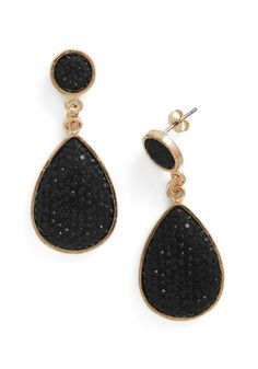 Droplet Like It's Haute Earrings in Black - Black, Gold, Rhinestones, Party, Vintage Inspired, Statement, Holiday Party