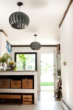 Old exhaust fans = cool pendant lamps