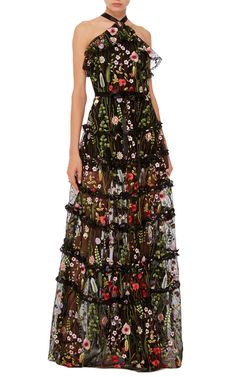 Black Glory Floral Embroidered Gown by ALEXIS Now Available on Moda Operandi