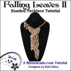 Falling Leaves Beaded Necklace Tutorial by Whimbeads on Etsy, $11.00