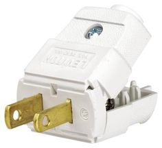 Leviton 101-WP 15 Amp, 125 Volt, NEMA 1-15P, 2P, 2W, Plug, Straight Blade, Residential Grade, Polarized, Non-Grounding, White - Leviton Electrical Plug, Light Duty, Polarized, 2 Poles, 2 Wires, 20 - 16 AWG Wire, 15 A, 125 V, Nema 1-15P, Cord Mounting, Non-Grounding Grounding, Straight Connection, Thermoplastic, White, UL Listed, CSA Certified, 1/4 in Cord, For Frequently Unplugged Appliances Such as Vacuum Cleaners, Fans ...
