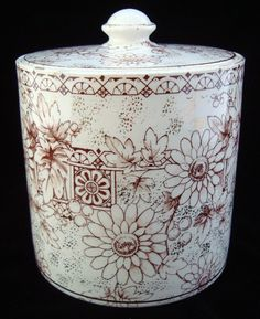 Antique Brown Transferware Biscuit Jar~ 1883 Antique Dishes, Aesthetic Movement, Chocolate Pots, Vintage China, Art Decor, Tea Pots, Ceramics, Pure Products, Biscuit