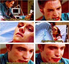 Edward (#RobertPattinson) tries to save Bella (#KristenStewart) during the delivery in Breaking Dawn. (#Twilight)